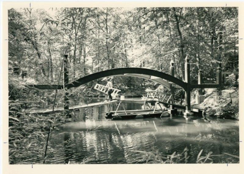 Crim Dell Bridge under construction, circa 1986.