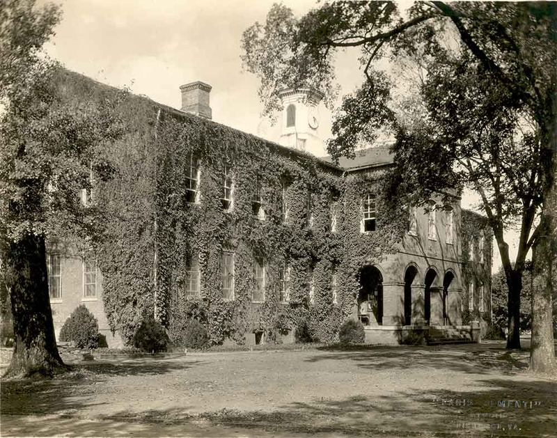East and South facades of the Wren Building with ivy, circa 1920