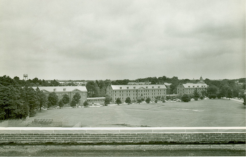 Looking across Barksdale Field to dorms, undated