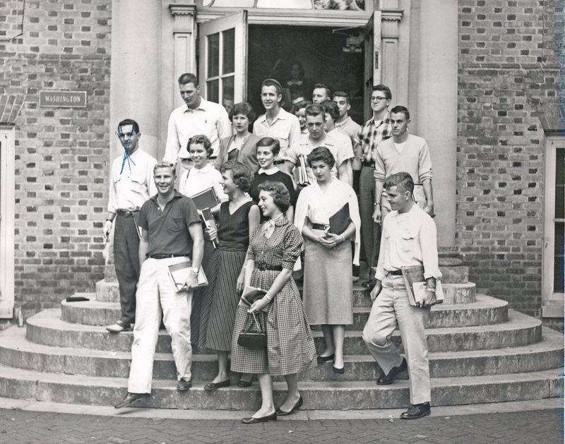 Students leaving Washington Hall, circa 1950