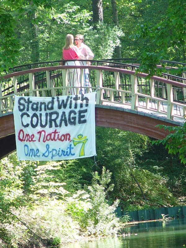 9/11 banner hanging from Crim Dell Bridge