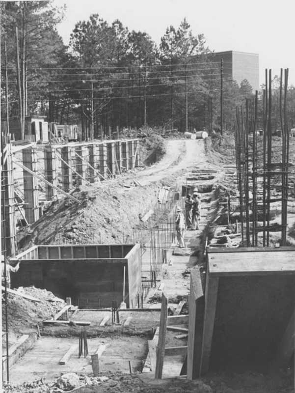 Small Hall under construction, circa 1962