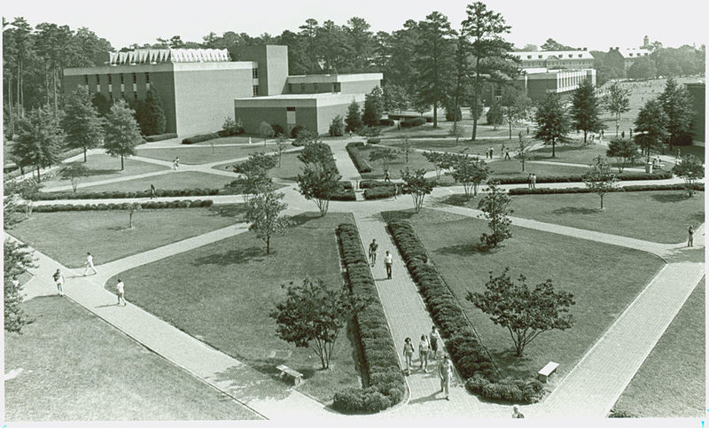 Aerial view of Millington Hall, circa 1985
