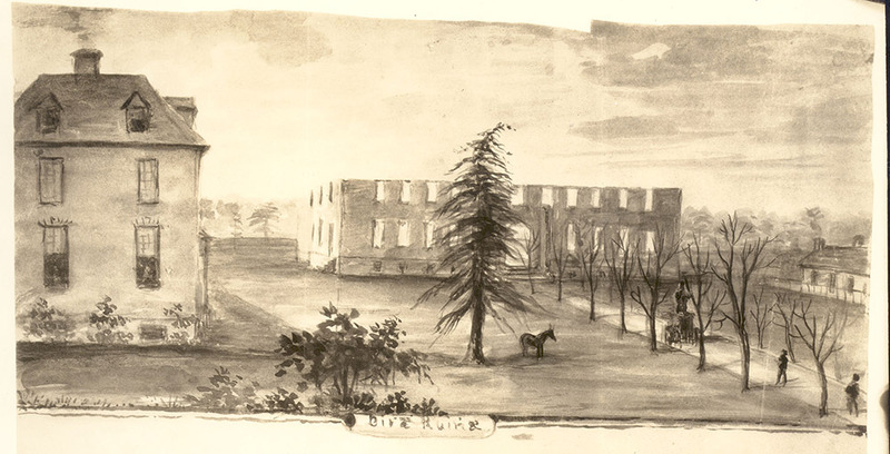 Front of burned Wren Building, 1859