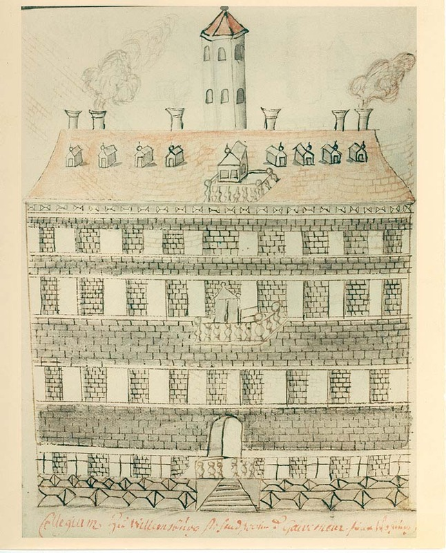 Drawing of the Wren Building, circa 1702