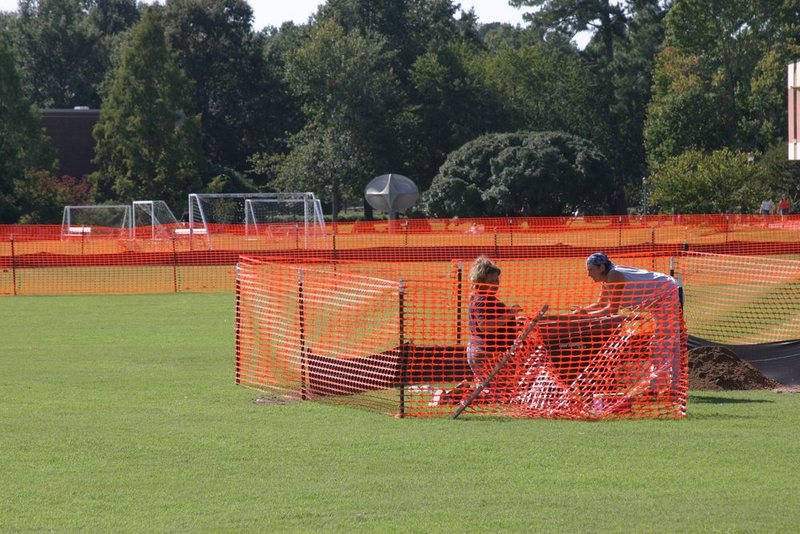 Construction and archaeology work on Barksdale Field, September 21, 2004