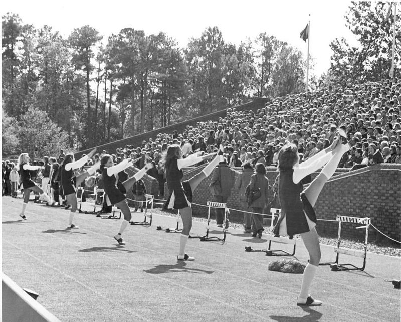 Cheerleaders in Zable Stadium, circa 1970