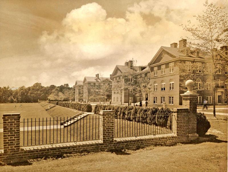 Tyler Hall and the Sunken Garden, undated