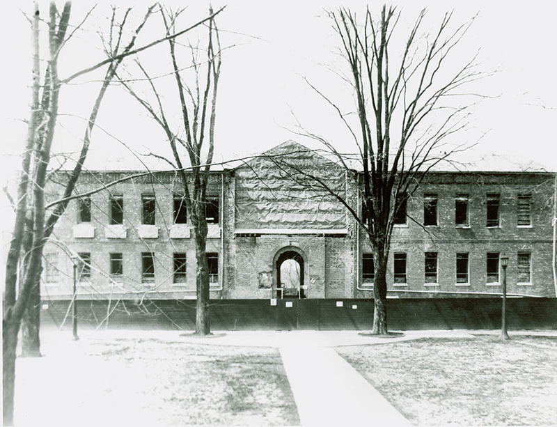 Front of the Wren Building during restoration, 1929