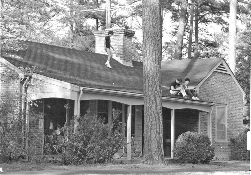 Students on Lodge Roof, circa 1990