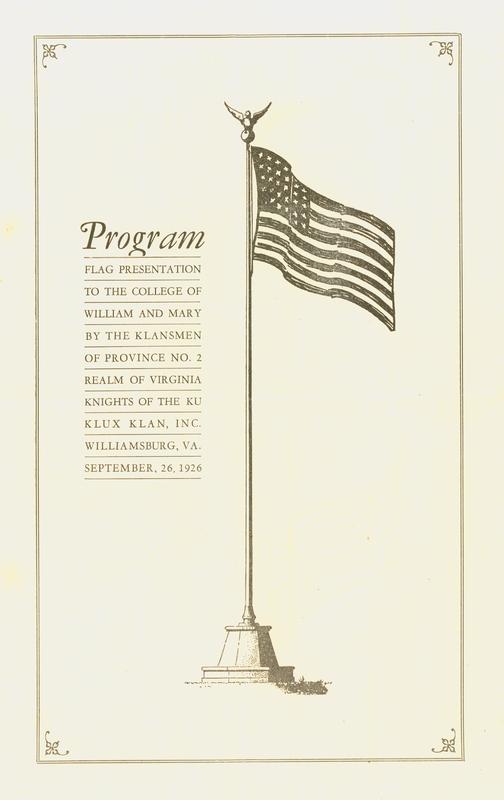 Program from the Ku Klux Klan flagpole Unveiling, 1926