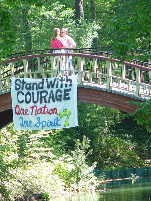 9/11 banner hanging from Crim Dell Bridge