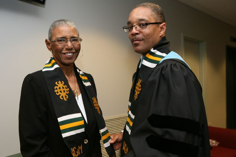Dr. Carroll F.S. Hardy with Earl Granger (right) at the 2012 Donning of the Kente Ceremony, 2012.