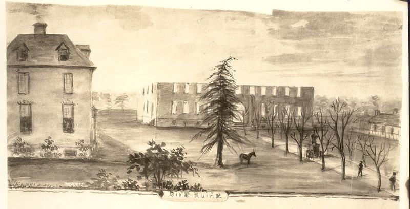 Front of burned Wren Building, 1859