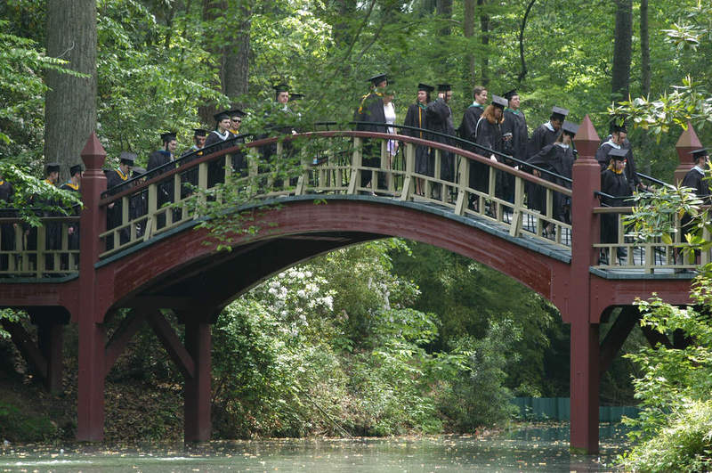 Crim Dell Bridge <br /> during Commencement, 2003