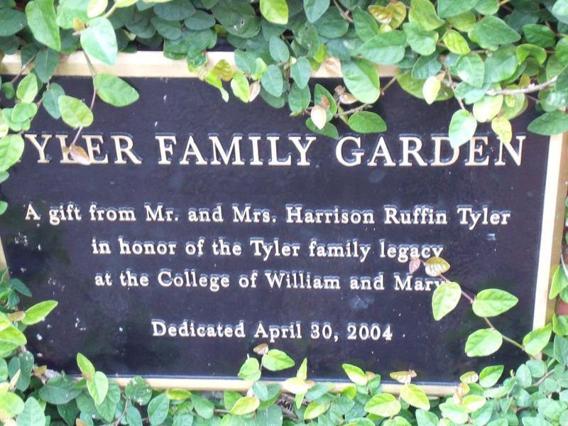 Tyler Family Garden Dedication Plaque, 2011