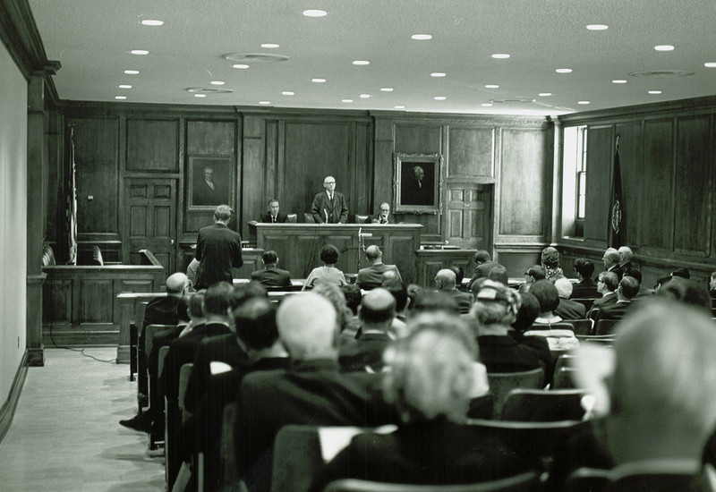 Courtroom at the Marshall-Wythe School of Law, now Tucker Hall, May 1969