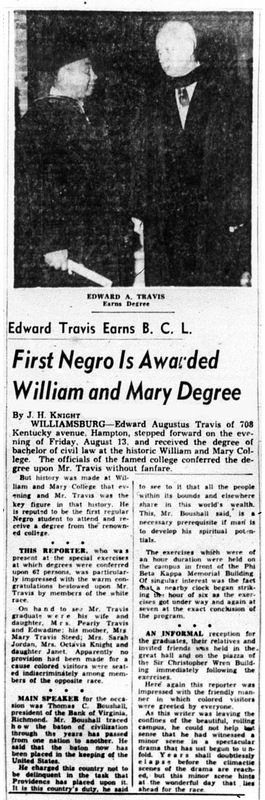 Article from theNew Journal and Guidedetailing Edward Travis' graduation, 1954.