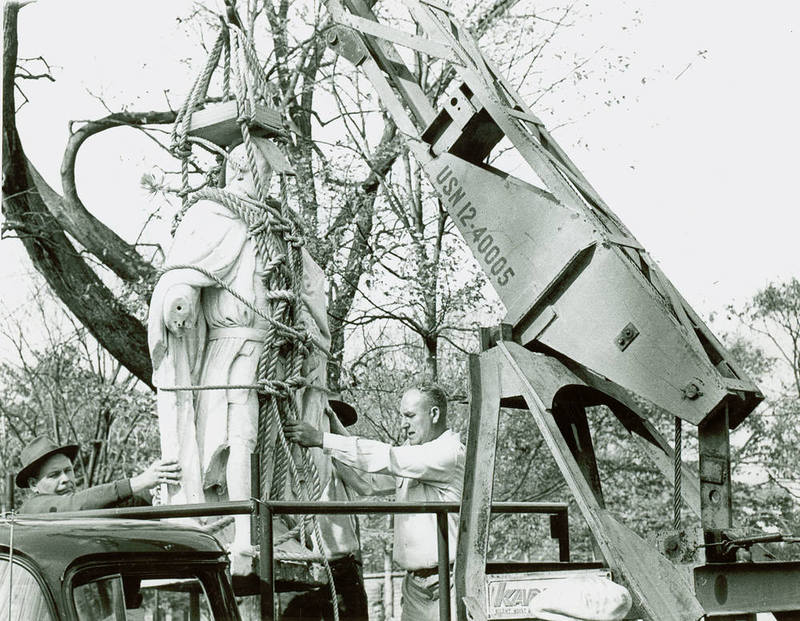 Original Lord Botetourt Statue removed from Wren Yard, 1958