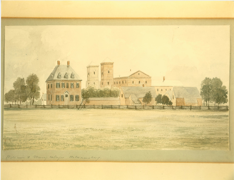 Watercolor of back of President's House, circa 1860