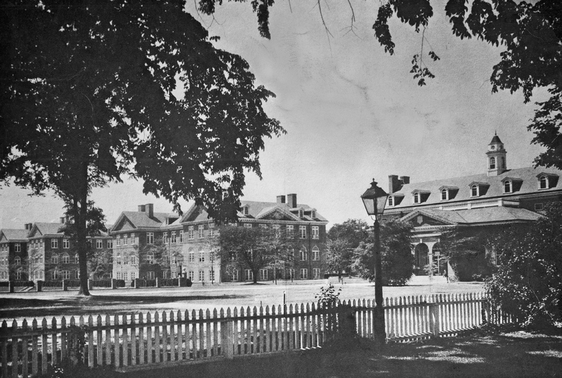 A view of Old Campus buildings, circa 1930s.